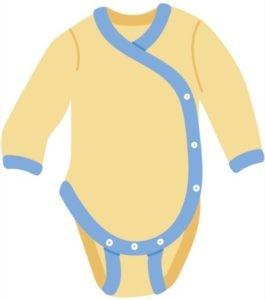 """Der Body: einteiliges Wäschestück für """"drunter"""". Bei Wickelbodys mit Druckknöpfen an der Seite sowie im Schritt geschlossen. Ohne oder mit Kurz- bzw. Langarm. Zum Windelwechseln leicht zu öffnen."""