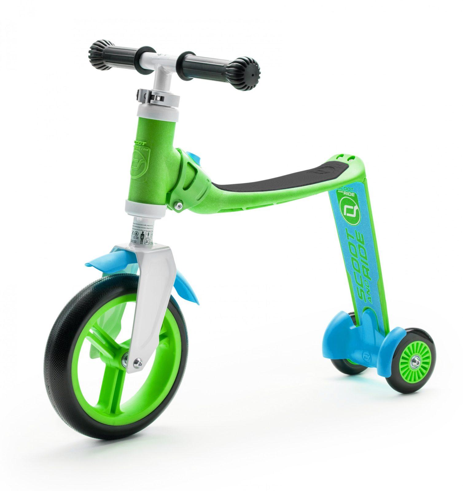 """Das Modell """"Highwaybaby+"""" von Scoot & Ride lässt sich als Tretroller oder als Laufrad nutzen, indem der Sitz einfach zur Stehfläche umgedreht werden kann. Ab 89,90 Euro. www.scootandride.at"""