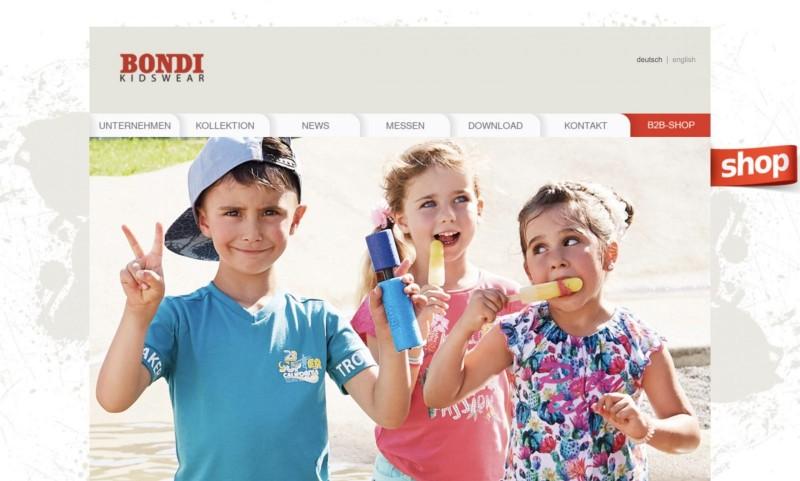 Screenshot der Marke Bondi Kidswear