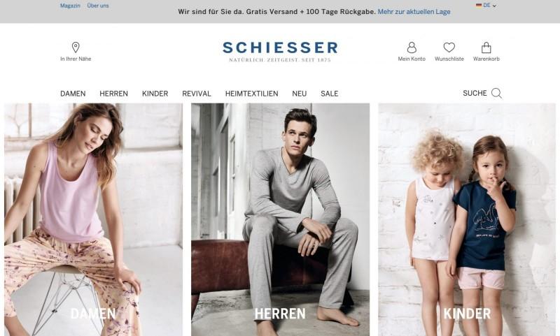 Screenshot der Marke Schiesser