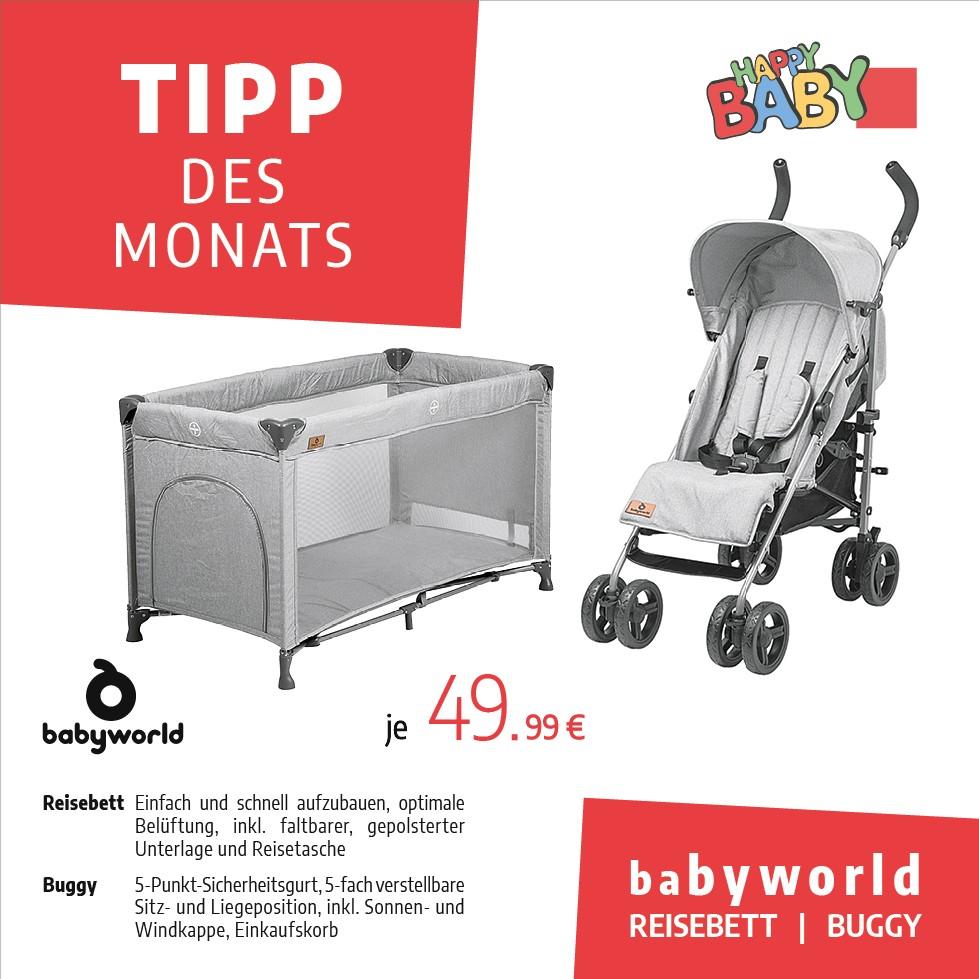 Tipp des Monats Juni 2020: Buggy und Reisebett von Babyworld